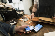Customer using contactless payment in leather shop - HEROF34206