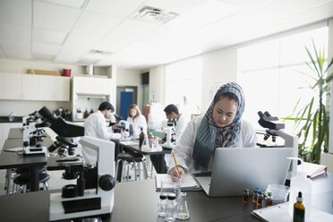 College student wearing hijab at laptop in science laboratory - HEROF34338