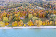 Germany, Bavaria, lakeshore of Lake Starnberg, Fuenfseenland, local recreation area Ambach, aerial view - SIEF08524