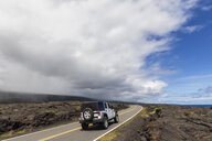 USA, Hawaii, Volcanoes National Park, lava fields, off-road vehicle on the Chain of Craters Road - FOF10525