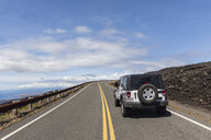 USA, Hawaii, Volcanoes National Park, lava fields, off-road vehicle on the Chain of Craters Road - FOF10531