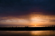 Russia, Sochi, rainfall over the sea at sunset - EYAF00093