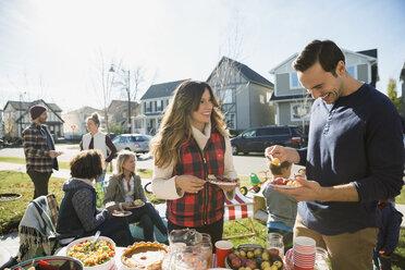 Neighbors enjoying potluck in sunny front yard - HEROF34544