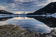 Italy, South Tyrol, Alps, Haidersee in winter - STSF01902