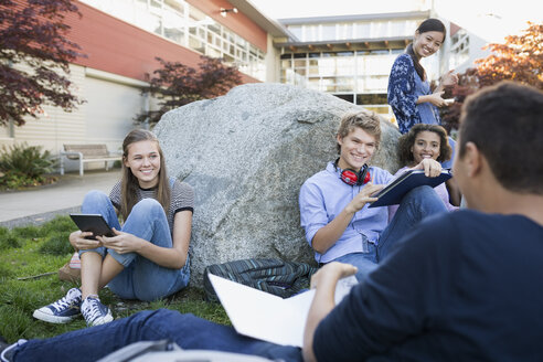 High school students studying hanging out on campus - HEROF35202