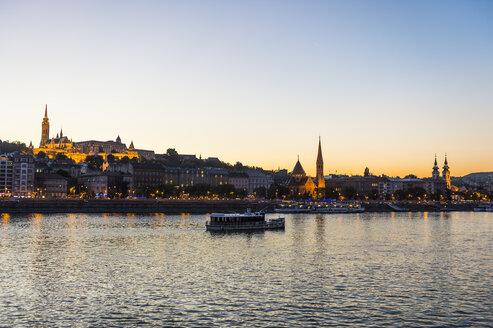 Hungary, Budapest, city view with Matthias Church at dusk - RUNF01766