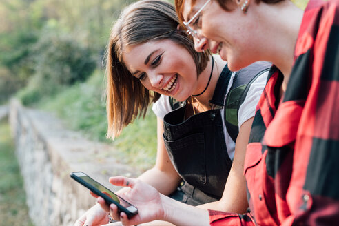 Best friends sitting on stone wall, sharing text message, Rezzago, Lombardy, Italy - CUF50096
