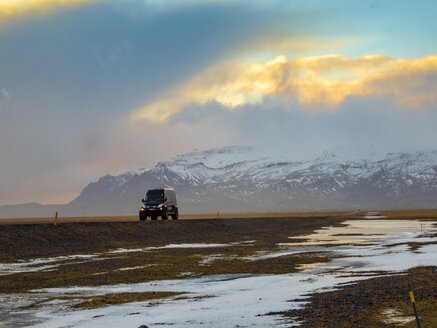 Iceland, off-road vehicle on country road - TAMF01249
