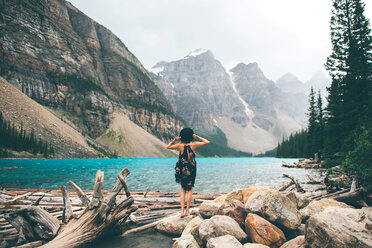 Woman enjoying view, Moraine Lake, Banff, Canada - ISF21096