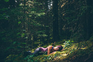 Hiker enjoying forest, Johnston Canyon, Banff, Canada - ISF21111