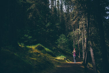 Hiker exploring forest, Johnston Canyon trail, Banff, Canada - ISF21114