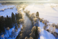 Germany, Bavaria, sunrise at Loisach river near Eurasburg in winter, aerial view - SIEF08552