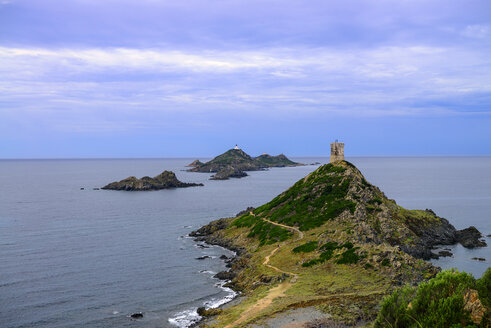 France, Corsica, view over Illes Sanguinaires and genoese tower from the Pointe de la Parata - LBF02513