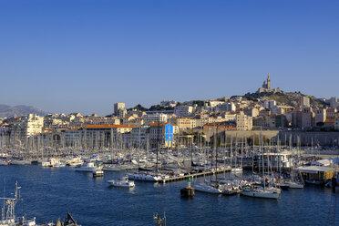 France, Marseille, old harbour with the Notre Dame de la Garde - LBF02558