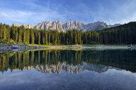 Italy, South Tyrol, Dolomite Alps, Lago di Carezza and Mount Latemar - RUEF02143