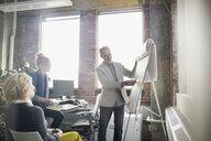 Businessman leading presentation at flipchart in office - HEROF35949