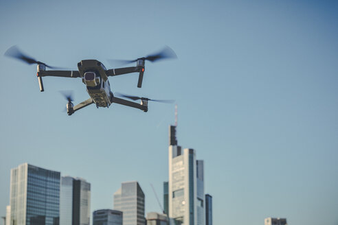 Germany, Frankfurt, drone in front of financial district - FMKF05543