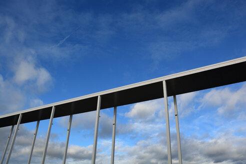 low angle shot of a building bridge at riem arkaden, riem, bavaria, germany - AXF00819