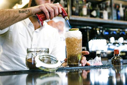 Sevilla, Spain, woman, coffee shop, fall, tea, cocktail, barman - ERRF01131