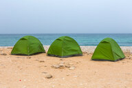 Sultanate Of Oman, Fins, Green tents at Fins Beach - WVF01140
