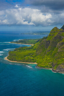 Aerial of the Napali coast, Kauai, Hawaii - RUNF01843