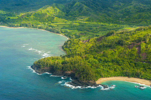 Aerial of the north shore of the island of Kauai, Hawaii - RUNF01846