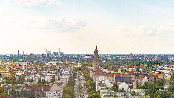View of the skyline of Westberlin with Schloß Charlottenburg from above - TAMF01292