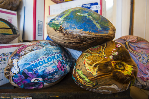Hawaii, island of Molokai, coconut post office, colourful painted coconuts, Post-A-Nut - RUNF01872