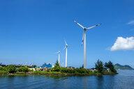 Seychelles, Mahe, wind wheels at harbour - NDF00910