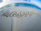 Maledives, Ross Atoll, beach with writing - AMF06905