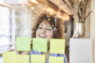 Happy businesswoman brainstorming with post-its on glass pane - FMKF05567