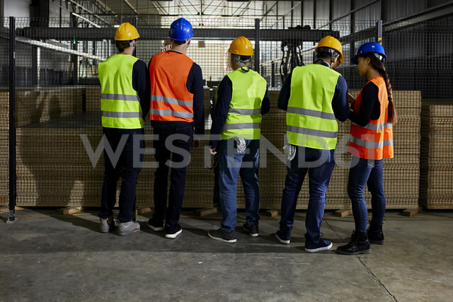 Rear view of workers standing in factory workshop - ZEDF02078 - Zeljko Dangubic/Westend61