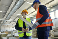 Two men with plan talking in factory - ZEDF02090
