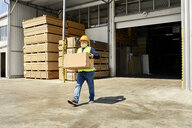 Worker carrying box on factory yard - ZEDF02219