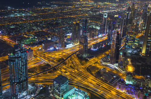 United Arab Emirates, Dubai, cityscape with Sheikh Zayed Road at night - HSIF00497