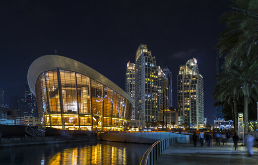 United Arab Emirates, Dubai, opera house at night - HSIF00500