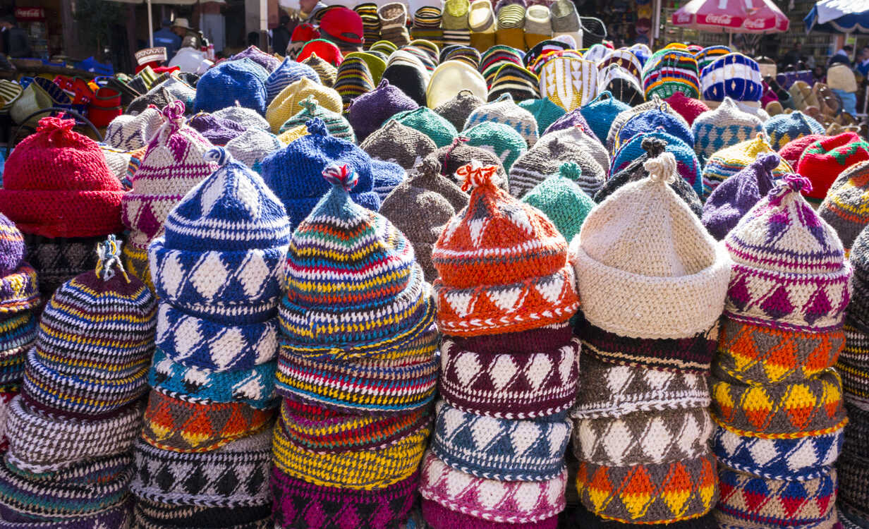 Morocco, Marrakesh, wool caps at souk - HSIF00521 - hsimages/Westend61
