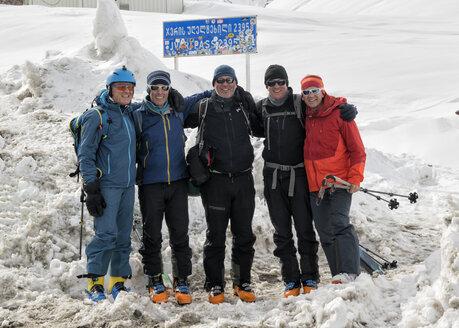 Georgia, Caucasus, Gudauri, portrait of happy ski tourers - ALRF01481