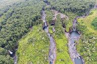 USA, Hawaii, Big Island, aerial view of Wailuku River, Kauwehu Falls and Hookelekele Stream, Lauiole Falls - FOF10696