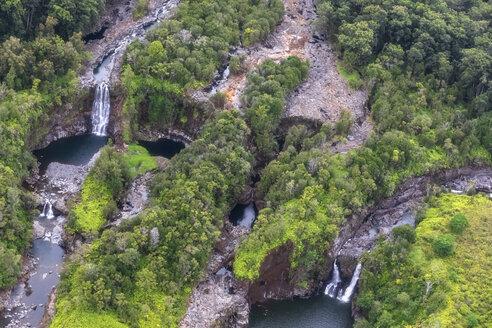 USA, Hawaii, Big Island, aerial view of Wailuku River, Kauwehu Falls and Hookelekele Stream, Lauiole Falls - FOF10711