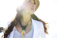 Mixed race woman in hat and necklace - BLEF00101