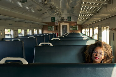 Portrait of young woman in a train - VEGF00059