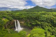 USA, Hawaii, Kauai, Wailua State Park, Wailua Falls, aerial view - FOF10732