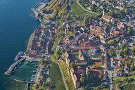 Germany, Baden-Wuerrttemberg, Lake Constance, Meersburg, Uberling Lake, townscape, aerial view - SH02148