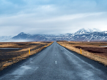 Iceland, Road 54 at Snaefellsjoekull National Park early in the morning in winter - TAMF01313