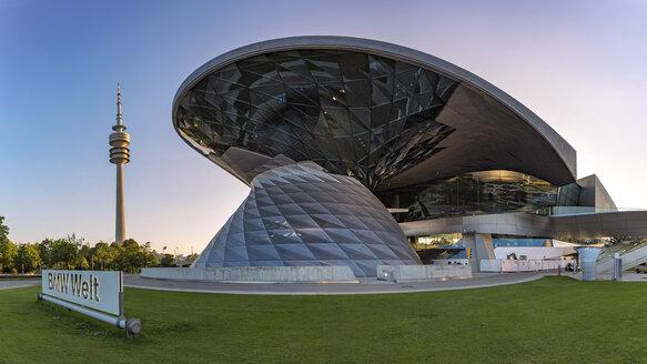 Germany, Munich, Olympic Tower and BMW World at dawn - YR00208