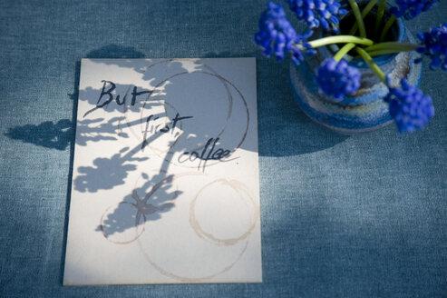 Sign with saying and grape hyacinth - GISF00423