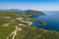 Greece, aerial view of coastal landscape at Syvota - TAMF01348