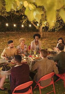 Friends enjoying dinner garden party - CAIF23249