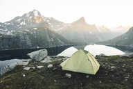 Camping tent near mountain lake - BLEF00202